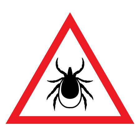 cartoon tick: vector image of a tick in a red triangle - tick stop sign Illustration