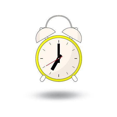hand beats: alarm clock - vector illustration. cartoon  style design