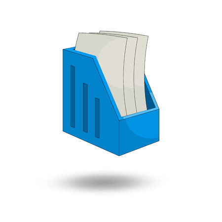 paper tray vertical and sheets of paper. cartoon style design - vector