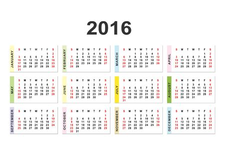 Calendar for 2016 on white background.  Vector circle calendar 2016. Week starts from Sunday and ends  with Saturday. Font Arial sans serif