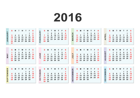arial: Calendar for 2016 on white background.  Vector circle calendar 2016. Week starts from Sunday and ends  with Saturday. Font Arial sans serif