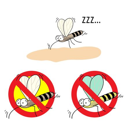 no mosquito: the mosquitoes stop sign - vector image of funny  mosquito in a red crossed out circle