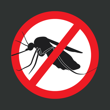 crossed out: the mosquitoes stop sign - vector image of a mosquito in a red crossed out circle Illustration