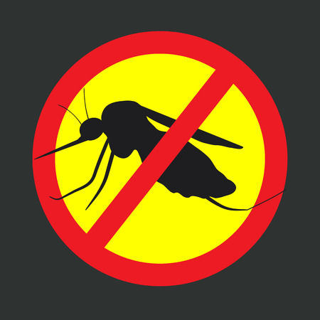 crossed out: the mosquitoes stop sign - vector image of funny of a mosquito in a red crossed out circle