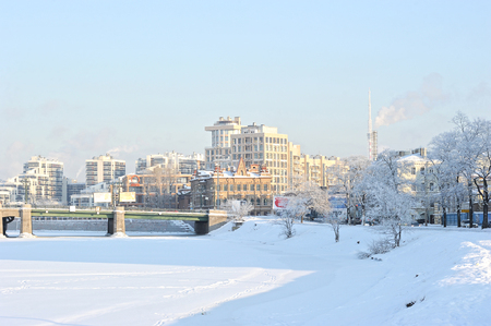 malaya: St. Petersburg, Russia - January 21, 2016: winter view of the Grand Central bridge and frozen river Malaya Nevka in Saint Petersburg