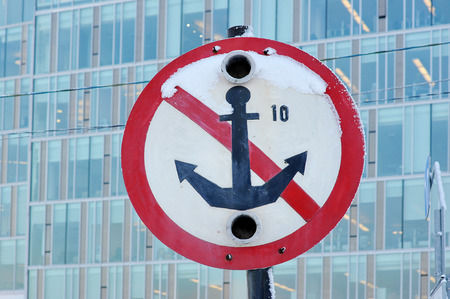 mooring anchor: sign for ships - mooring prohibited do not throw the anchor
