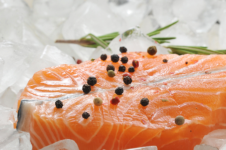 salmon steak on ice cubes with rosemary and lemon. top view