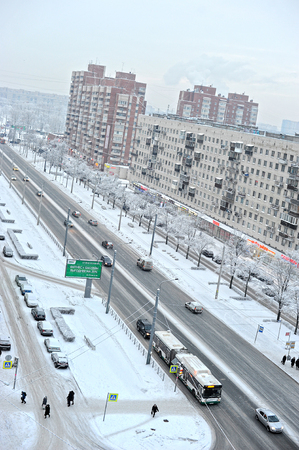 multistory: SAINT-PETERSBURG, RUSSIA - JANUARY 18, 2016: winter view from the height of a multistory building on the outskirts of the district