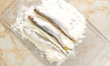 smelt: smelt dusted in flour. top view Stock Photo
