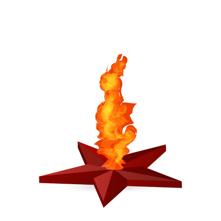 eternal: eternal flame in red star. fire is burning in a star