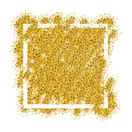 privilege: Gold sparkles on white background in white frame. Gold glitter background. Gold background for banner; offer; card, vip, exclusive, certificate, gift, luxury, privilege, voucher, store, present, shopping.