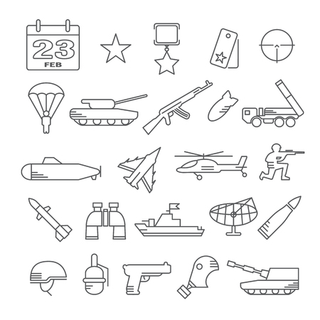 23: icon set for February 23 - Army icons Illustration