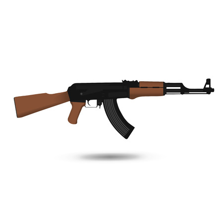 assault: Vector illustration of AK-47 assault rifle. Illustration