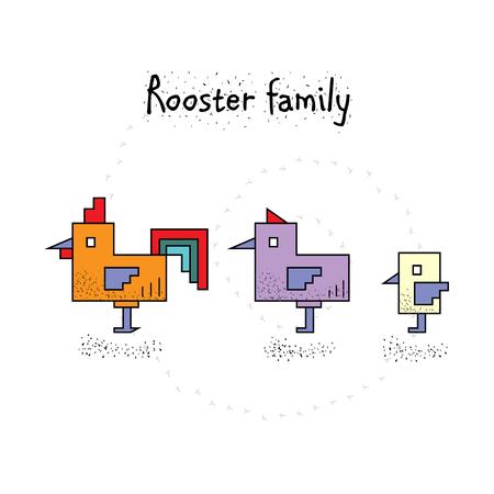 chicken family: Cube cute chicken family - rooster, hen, chicken. cartoon vector illustration