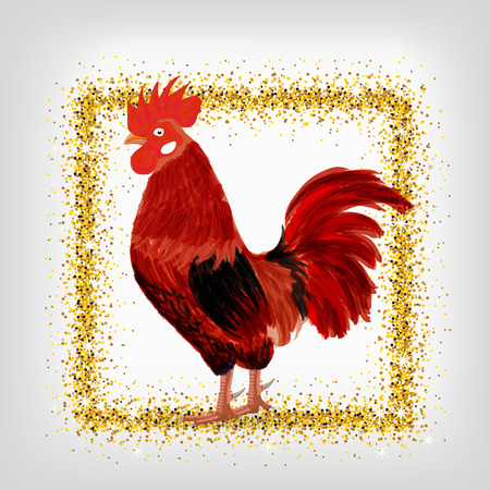according: red rooster - a symbol of the new 2017 according to the Chinese calendar. Vector illustration of cute rooster. cartoon vector illustration of cock with golden frame Illustration