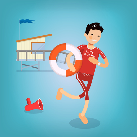 coast guard: Cool lifeguard to the rescue with a lifeline. He threw the speaker and runs. In the background spasatelya tower. vector illustration in a flat style