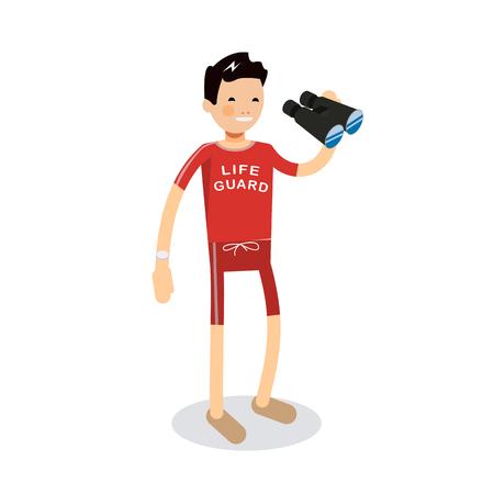 coast guard: Cute vector modern flat character design on young male lifeguard standing full length holding binoculars