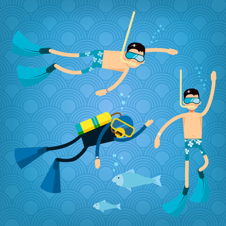 trendy male: Vector male character in flat style - cartoon diver icons - illustration in simple trendy style