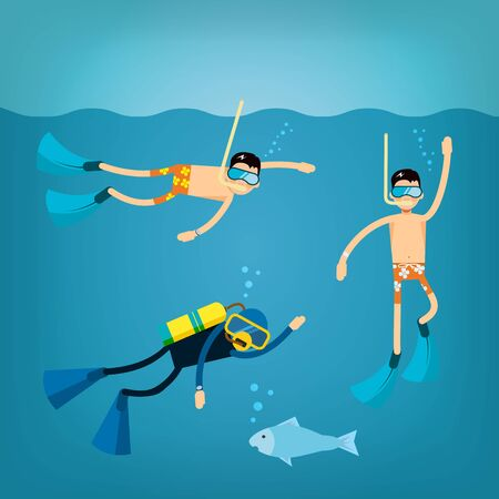 trendy male: Vector male character in flat style - set of vector characters floating in the water with mask and flippers, with scuba diving - illustration in simple trendy style