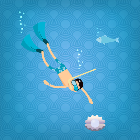 trendy male: Vector male character in flat style -Male diver going for pearl in oyster - illustration in simple trendy style
