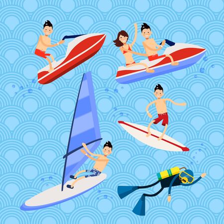 white board: Set of vector characters - beach holiday on the water - a diver is a diver with scuba diving, jet ski, Windsurfing, surfing