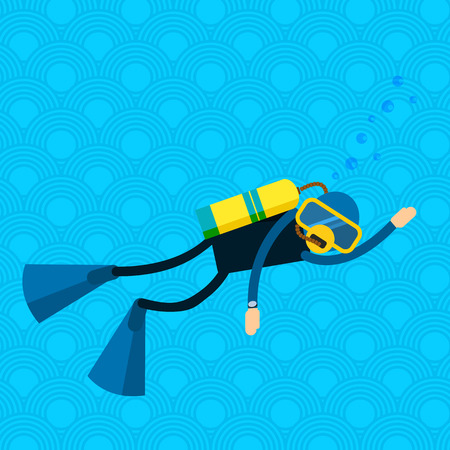 underwater sport: Vector male character - diver with a scuba diving suit and flippers - swimming under water. Underwater people diver isolated - extreme diving sport. Cartoon diver isolated Illustration