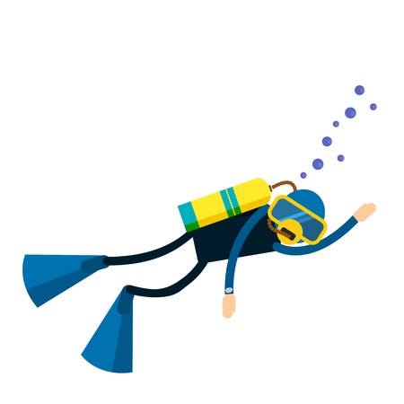 Vector male character - diver with a scuba diving suit and flippers - swimming under water. Underwater people diver isolated - extreme diving sport. Cartoon diver isolated  イラスト・ベクター素材