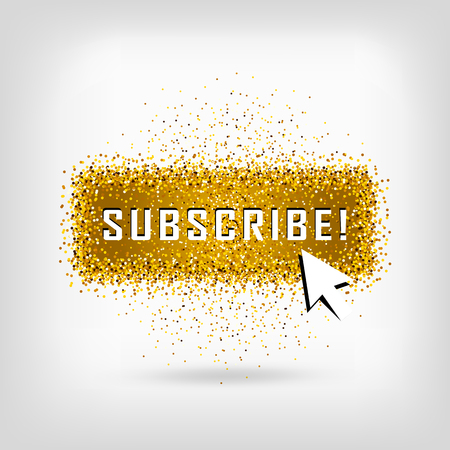 Gold vector subscribe button with cursor in golden flat design. Ideal for video streaming website banners, blogs, content updates and news feed Vettoriali