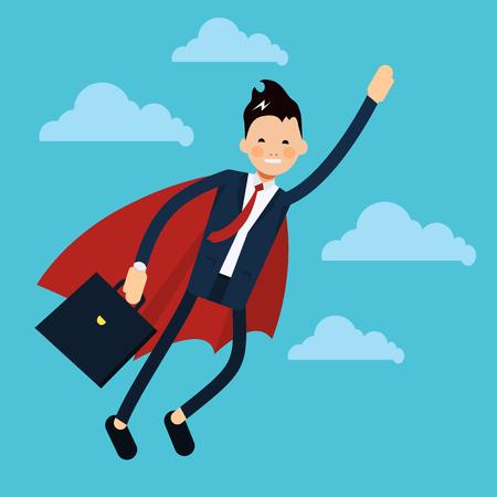 Office business super man vliegen pictogram in vlakke stijl. Zakenman in superherokostuum die in de wolken vliegen - vectorillustratie