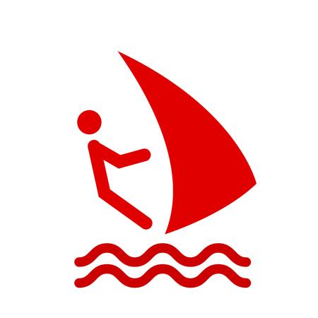 windsurf: Windsurfing isolated minimal single flat icon. Beach vector icon for websites and mobile minimalistic flat design.  windsurf sign