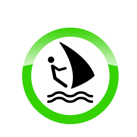 allowing: Allowing green sign windsurfing. Beach vector icon for websites and mobile minimalistic flat design. Logo windsurf sign Illustration