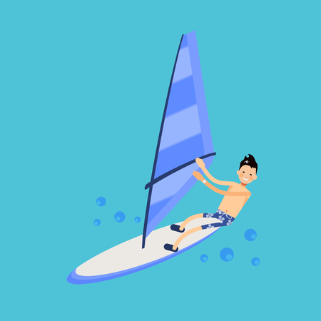 trendy male: Vector male character in flat style - illustration of a windsurfer - illustration in simple trendy style