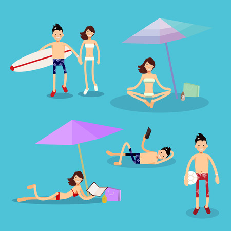 blue signage: Set of images with the characters on the beach theme Illustration
