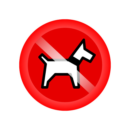 illegal zone: No dogs sign isolated on red background. Red forbidding symbol for dog. Red icon without dog. Vector illustration