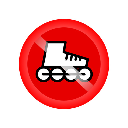 allow: No roller skates sign. Symbol prohibited activities. Red circle not allow sport skating sign isolated on white background. Forbid racing. Warning label