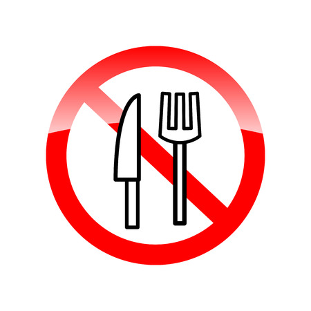 posted: No eating sign, No Food Sign. Symbol prohibiting food in Ramadan. Vector icons