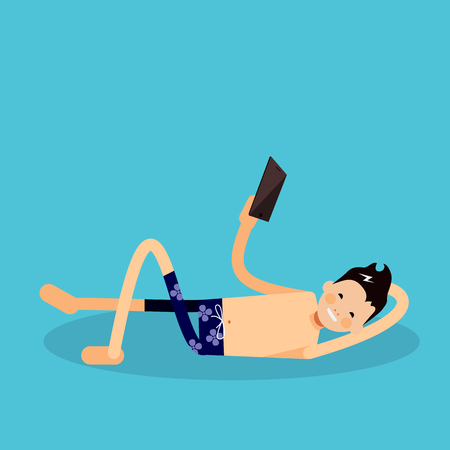 holiday maker: Man lies on the beach and looking at the smartphone. Vector male character in flat simple style - Happy holiday maker arrives at destination and travel holiday maker leisure