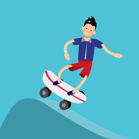 trendy male: Vector male character in flat style - boy riding skateboard - illustration in simple trendy style Illustration