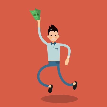 windfall: Male character rejoices win with money in hands of the winner. Vector man in concept flat abstract isolated design - illustration in simple trendy style