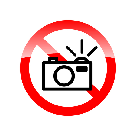 recreate: no flash sign (no flash photo icon, no photography with flash sign). Red forbidding symbol for making photo with flash. Vector illustration Illustration