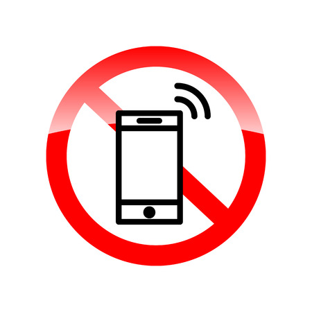cell phones not allowed: No phone vector sign. Red forbidding symbol for cell phone. Red icon without calling. Vector illustration