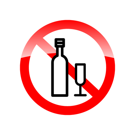 spirituous: No alcohol drinks, prohibits sign vector. Red forbidding symbol for alcohol drinks. Red icon without alcohol. Vector illustration Illustration