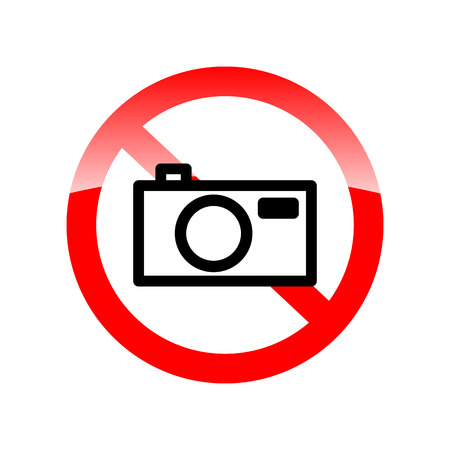use regulation: No photo camera vector sign isolated on white background. Red forbidding symbol for making photo. Red icon without camera. Vector illustration