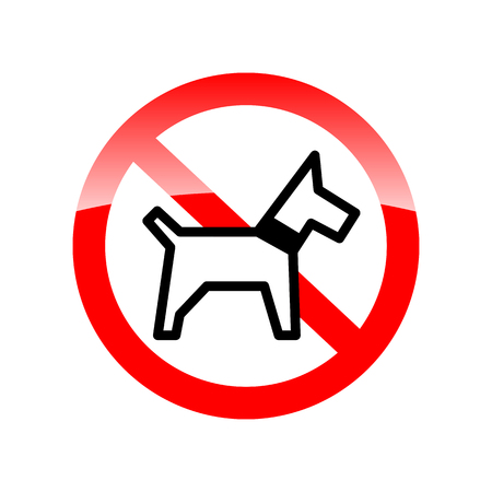 illegal zone: No dogs sign isolated on white background. Red forbidding symbol for dog. Red icon without dog. Vector illustration