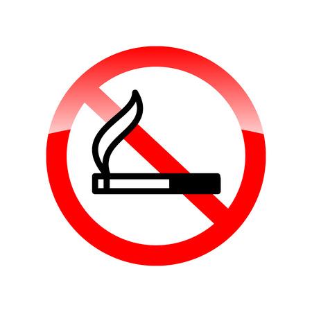 smoke alarm: No smoking sing. Stop smoking. Red forbidding symbol for smoking. Vector illustration