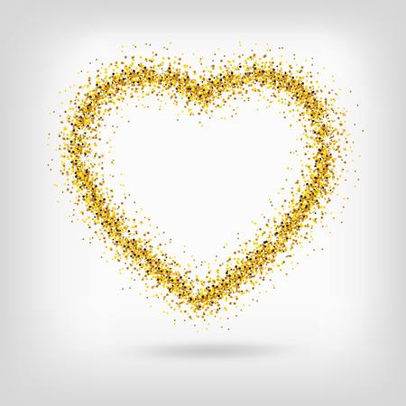 gold heart: Vector gold heart on transparent background. Love concept design. Vector golden glitter heart.
