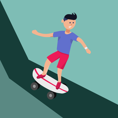 trendy male: Vector male character in flat style - boy riding skateboard from high hills - illustration in simple trendy style