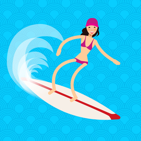 surf girl: Cool vector surfer girl in surf trunks with surfboard standing and riding on ocean wave. Recreational beach water sport flat design character on surfing. Girl on surfing vacation. Surf travel Illustration