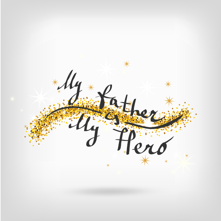 s tie: Holiday greeting card for Fathers day. Vector illustration. Fathers day gold glitter background.