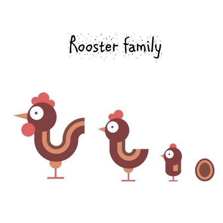 vector illustration  hen: Simple cute chicken family - rooster, hen, chicken. cartoon vector illustration Illustration